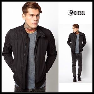 DIESEL BLACK MOTO SOFT SHELL QUILTED JACKET